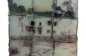 No.1202   The Dormant Yellow series   Polaroid Photography   a collage of 9 images, all transferred to glass   24×24 cm   2013